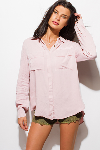 $20 - Cute cheap gold chiffon boho top - dusty pink acid wash tie dye elbow patch button up boho blouse top