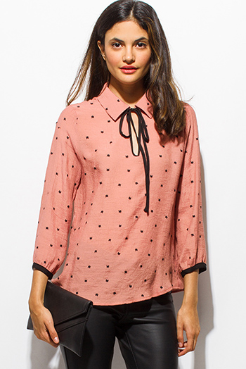 $20 - Cute cheap khaki blouse - dusty pink cat print keyhole bow tie quarter sleeve boho blouse top