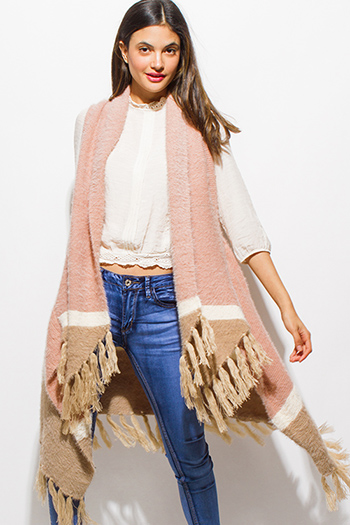 $20 - Cute cheap lace boho fringe romper - dusty pink color block fringe trim open front fuzzy sweater knit boho duster cardigan vest top