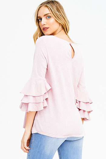$15 - Cute cheap coral pink stripe sequined off shoulder pocketed long sleeve crochet sweater knit top - dusty pink cotton ruffle tiered quarter bell sleeve boho blouse top