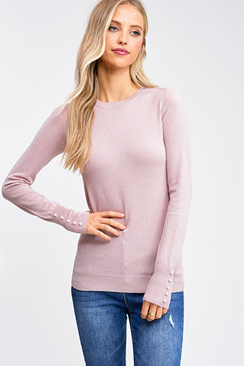 $20 - Cute cheap pink boho sweater - Dusty pink crew neck long sleeve pearl studded cuffs boho sweater knit top