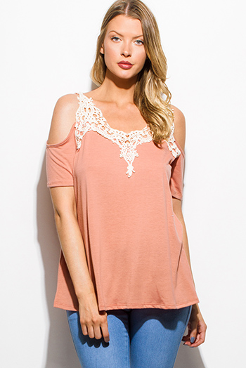 $15 - Cute cheap peach pink draped low cowl neck quarter sleeve knit tunic top - dusty pink crochet lace cold shoulder short sleeve boho top