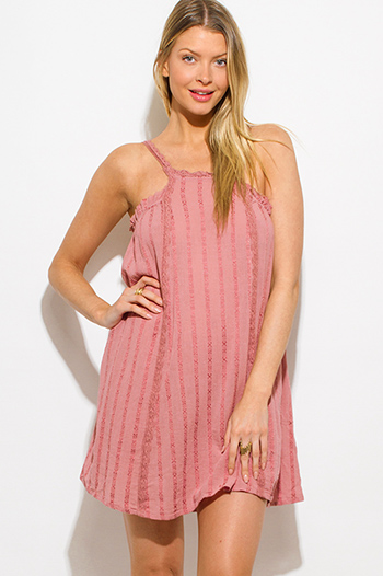 $15 - Cute cheap light pink purple floral print sleeveless criss cross caged front pocketed boho mini sun dress - dusty pink embroidered ruffle trim spaghetti strap mini sun dress