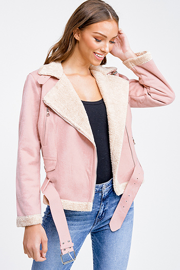 $22 - Cute cheap white denim long sleeve button up lined pocketed jean jacket - Dusty pink faux suede sherpa fleece lined zip up belted fitted moto jacket