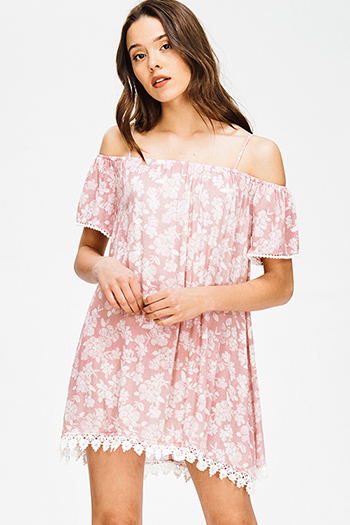 $15 - Cute cheap print open back jumpsuit - dusty pink floral print cold shoulder crochet lace scallop hem shift boho mini sun dress