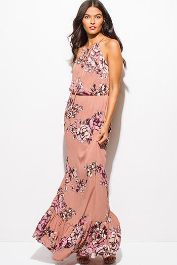 $20 - Cute cheap pink fitted cocktail dress - dusty pink floral print halter racer back tiered boho evening maxi sun dress
