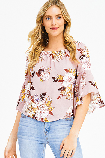 $15 - Cute cheap peach pink denim mid rise ripped knee skinny fit ankle jeans - dusty pink floral print off shoulder trumpet bell sleeve boho blouse top