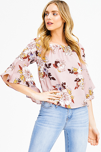 $15 - Cute cheap blue chambray blouse - dusty pink floral print off shoulder trumpet bell sleeve boho blouse top