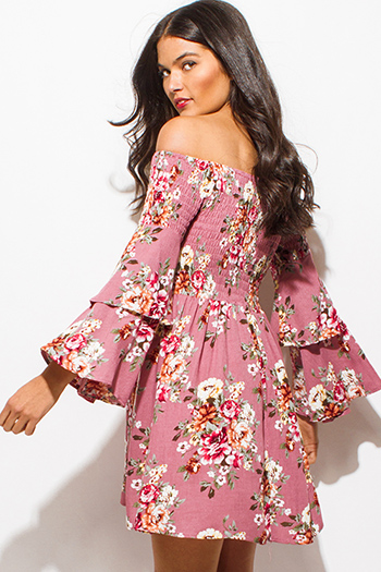 $15 - Cute cheap navy blue crochet dress - dusty pink floral print smocked off shoulder long tiered bell sleeve boho mini dress