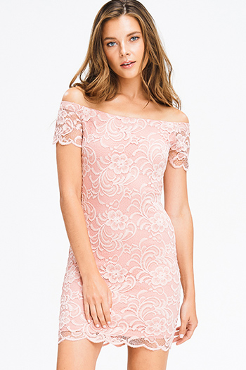 $12 - Cute cheap floral caged boho dress - dusty pink lace off shoulder bodycon fitted sexy club mini dress