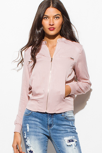 $20 - Cute cheap peach pink draped low cowl neck quarter sleeve knit tunic top - dusty pink long sleeve elbow patch zip up pocketed moto jacket top