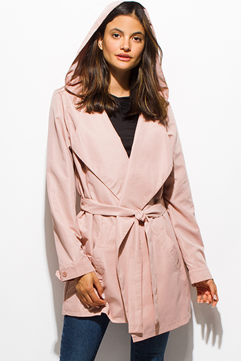 $25 - Cute cheap dusty pink long sleeve foldover collar pocketed hooded open front trench coat jacket
