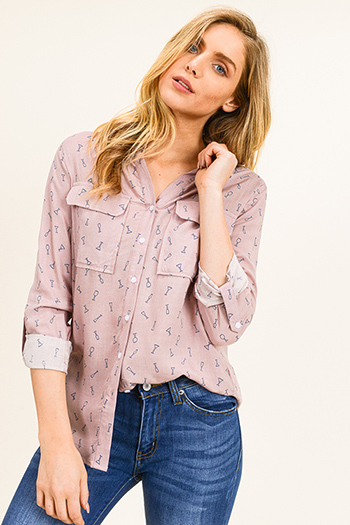 $15 - Cute cheap print chiffon boho top - Dusty pink print long sleeve front pocket button up blouse top