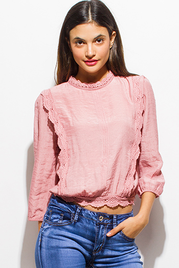 $20 - Cute cheap dusty pink quarter sleeve mock neck button up tie back boho blouse top
