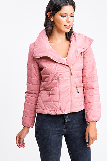 $35 - Cute cheap white asymmetrical hem quarter sleeve zip up fitted blazer jacket top - Dusty pink quilted high neck asymmetrical zip up puffer bomber jacket