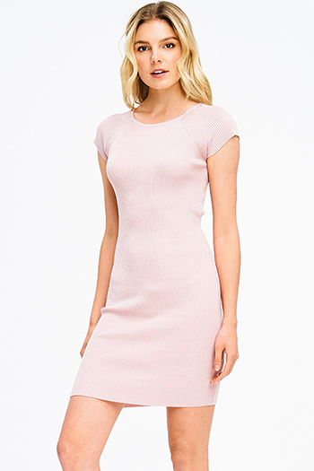 $15 - Cute cheap slit wrap sun dress - dusty pink ribbed knit cap sleeve pencil fitted bodycon sexy club mini dress