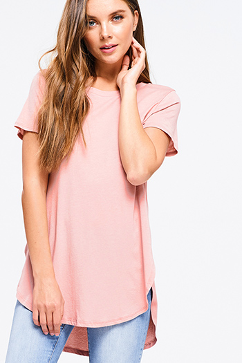 $15 - Cute cheap floral bell sleeve top - Plus size dusty pink round neck short sleeve side slit curved hem tee shirt tunic top