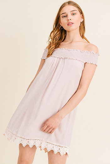 $12 - Cute cheap light pink satin floral off shoulder ruffle tiered boho mini sun dress - Dusty pink shirred off shoulder crochet lace trim boho shift mini sun dress
