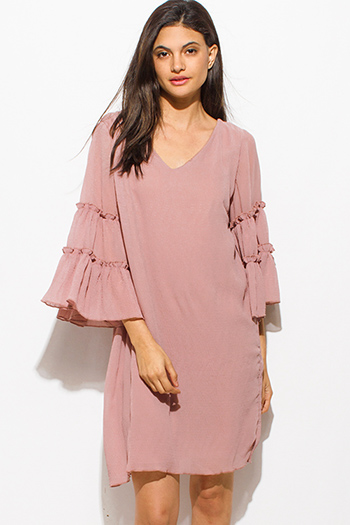 $20 - Cute cheap ribbed sexy party dress - dusty pink v neck ruffle tiered wide bell sleeve cut out back cocktail party boho shift mini dress