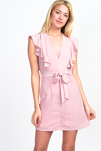 $20 - Cute cheap sexy party romper - Dusty pink v neck ruffled sleeveless belted button trim a line boho party mini dress