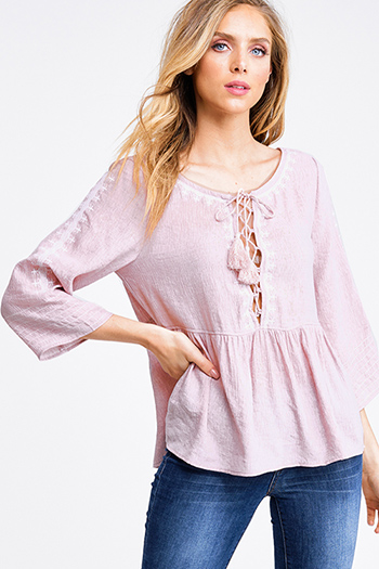 $20 - Cute cheap pink navy multicolor plaid cotton gauze long sleeve button up blouse top - Dusty pink wide quarter sleeve embroidered laceup boho peplum peasant blouse top