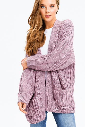 $30 - Cute cheap asymmetrical sweater - dusty purple chunky cable knit open front pocketed boho oversized sweater cardigan