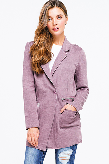 $18 - Cute cheap navy blue long sleeve exposed stitch pocketed open front sweater cardigan - dusty purple long sleeve single button long blazer boho coat cardigan jacket