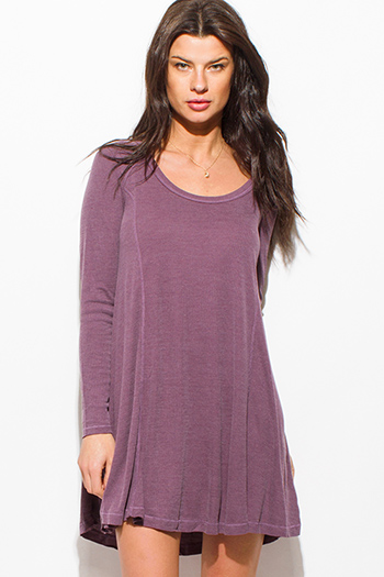 $12 - Cute cheap pleated mini dress - dusty purple ribbed knit scoop neck long sleeve boho tunic swing mini dress