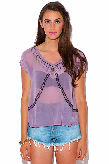 $10 - Cute cheap bodycon sexy party top - dusty purple semi sheer chiffon bejeweled party top