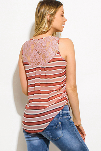 $8 - Cute cheap ruffle sheer top - dusty rose pink multicolor striped semi sheer chiffon lace contrast button up blouse tank top