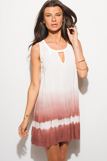 $15 - Cute cheap peplum mini dress - dusty rose pink ombre tie dye print cut out sleeveless shift mini sun dress