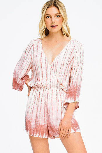 $15 - Cute cheap red mesh fitted jumpsuit - dusty rose pink ombre tie dye print faux wrap kimono sleeve boho romper playsuit jumpsuit