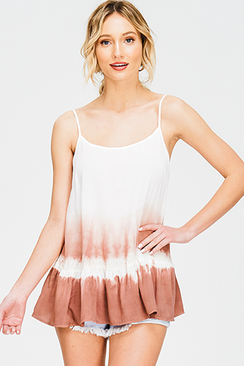 $15 - Cute cheap nude beige mesh inset cut out cold shoulder sexy clubbing crop top - dusty rose pink ombre tie dye print spaghetti strap tiered boho party tank top
