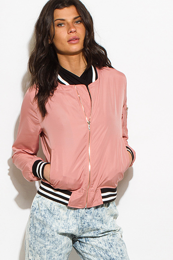 $20 - Cute cheap dark navy blue military zip up pocketed patch embroidered puff bomber coat jacket - dusty rose pink zip up stripe banded cropped bomber jacket