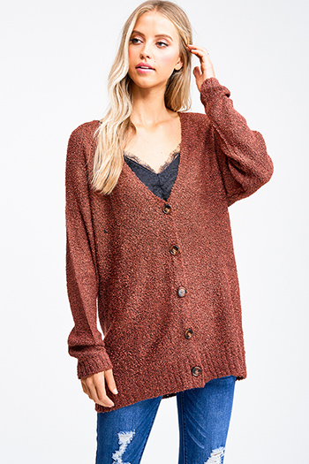 $20 - Cute cheap brown plaid print flannel long sleeve frayed hem button up blouse tunic top - Dusty rust red boucle sweater knit long sleeve button up boho cardigan top