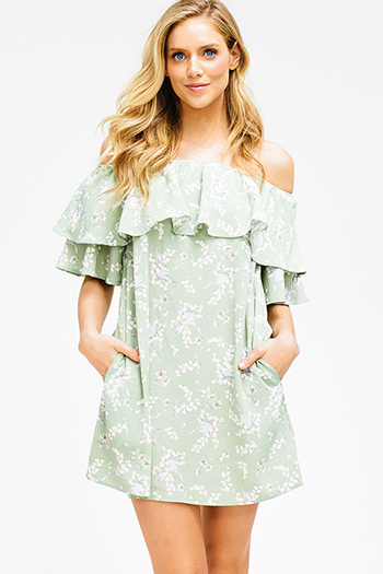 $15 - Cute cheap pink satin dress - dusty sage green floral print ruffle tiered off shoulder pocketed boho mini sun dress