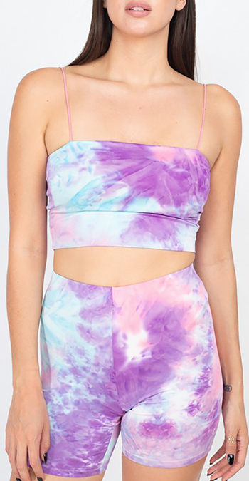 $17.50 - Cute cheap elastic tie-dye tank top & shorts set
