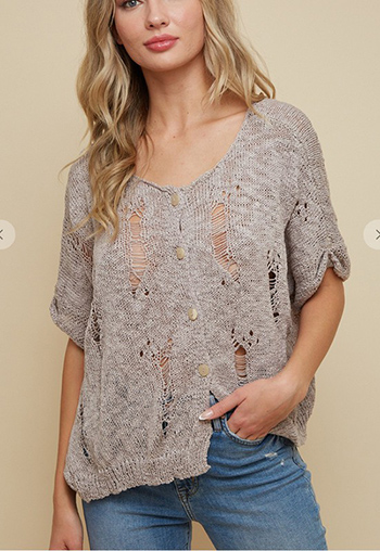 $19.25 - Cute cheap sweater top - elbow sleeve distressed yarn sweater