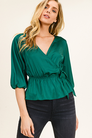 $25 - Cute cheap floral bell sleeve top - Emerald green satin quarter sleeve surplice faux wrap sexy party blouse top