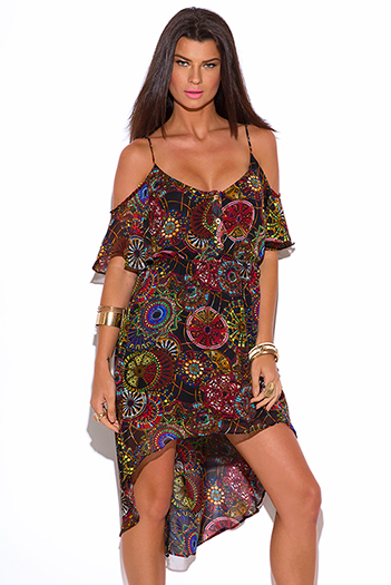 $12 - Cute cheap black ruffle sun dress - ethnic print chiffon cold shoulder ruffle boho high low dress