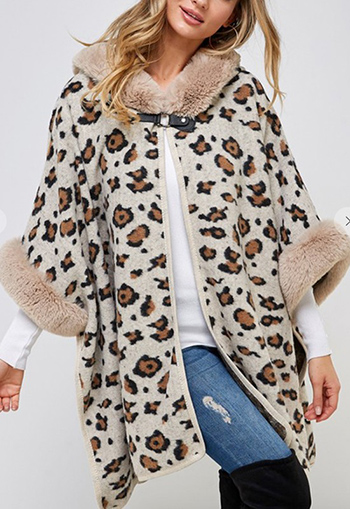 $29.95 - Cute cheap Faux Fur Hooded Coat with Animal Pattern.