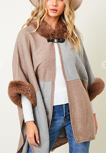 $44.50 - Cute cheap Faux Fur Hooded Coat with Color Block