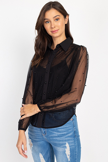 $27.00 - Cute cheap interview outfits - Faux Pearl Black Chiffon Balloon Sleeve Blouse Top