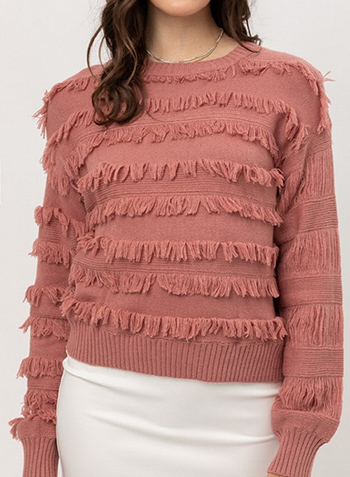$23.50 - Cute cheap sweater top - fine yarn fringe sweater top
