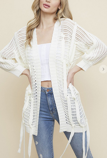 $25.50 - Cute cheap shawl wrap sweater with wide stripe1602854869637 - Fishnet Sweater Open Cardigan with Shoelace Trim