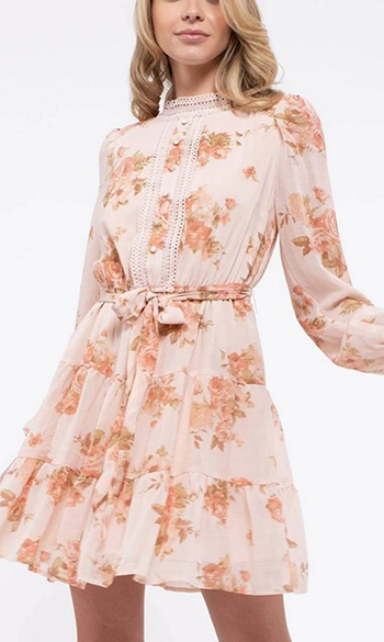 $33.75 - Cute cheap floral mock neck tired mini dress