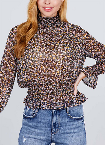 $13.50 - Cute cheap print blouse - flory printed blouse