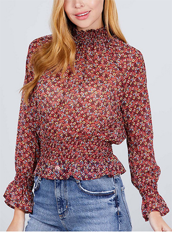 $10.50 - Cute cheap interview outfits - flory printed blouse