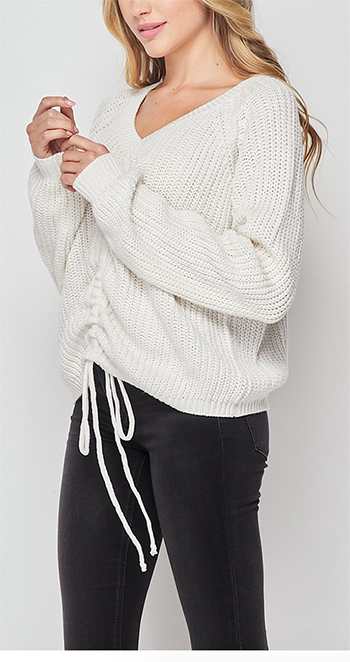 $18.00 - Cute cheap front tie long sleeve sweater