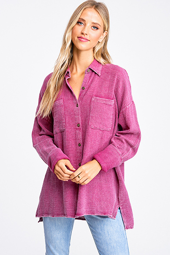 $20 - Cute cheap ice blue satin white lace contrast long sleeve zip up boho bomber jacket - Fuchsia pink acid washed cotton long sleeve button up oversized boho blouse top